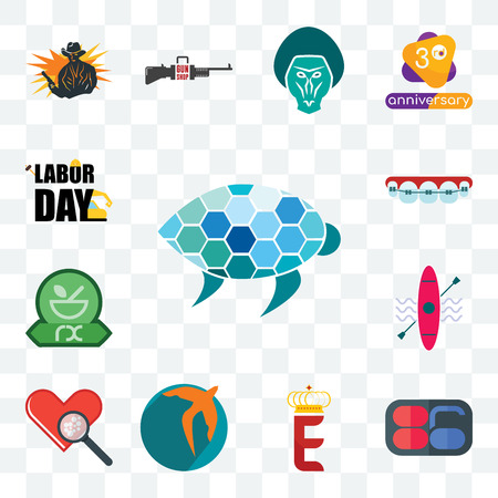 Set Of 13 transparent editable icons such as sea turtle, 86, e crown, swift, cholesterol, kayak, pharmacy, orthodontist, labor day, web ui icon pack Illustration