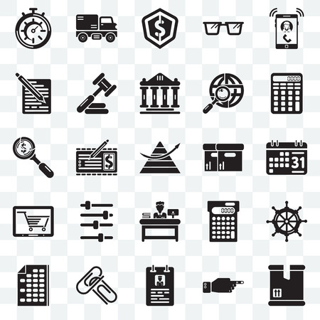 Set Of 25 transparent icons such as Packing, Weekly calendar, Calculating, Trucking, Office material, Judging, Dollar, web UI transparency icon pack, pixel perfect