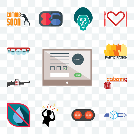 Set Of 13 transparent editable icons such as online form, dispatch, convert, panic, no water, catering, gun shop, participation, orthodontist, web ui icon pack