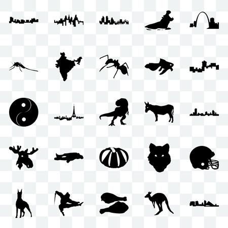 Set Of 25 transparent icons such as wisconsin, kangaroo, turkey leg, ninja, doberman, montana, donkey, pumpkin, moose head, mosquito, london, pennsylvania state, web UI transparency icon pack