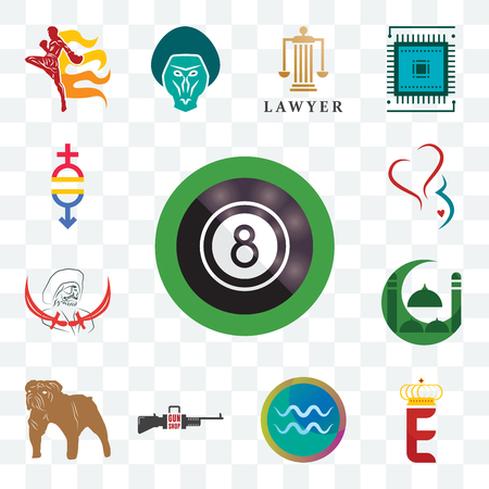 Set Of 13 transparent editable icons such as 8 ball pool, e crown, aquarius, gun shop, bulldog, masjid, pirate, gynecology, gender equality, web ui icon pack