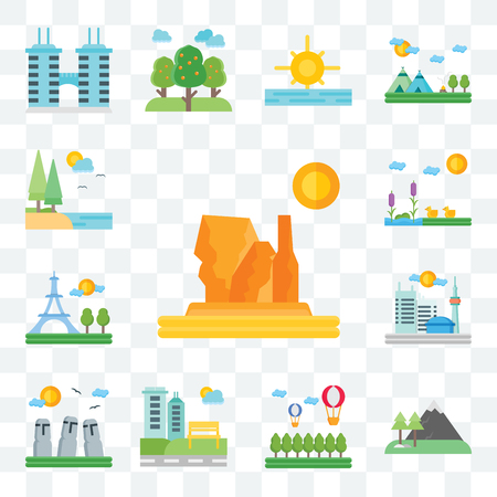 Set Of 13 transparent editable icons such as Grand canyon, Mountains, Hot air balloon, Park, Easter Island, Toronto, Paris, Lake, web ui icon pack Illustration