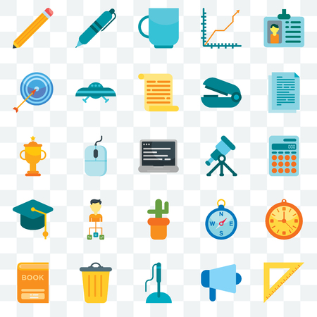 Set Of 25 transparent icons such as Ruler, Megaphone, Pen, Basket, Book, Documentation, Telescope, Cactus, Mortarboard, Target, Cup, web UI transparency icon pack