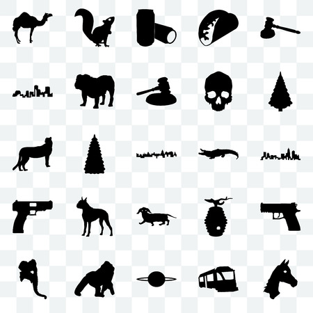 Set Of 25 transparent icons such as horse face, train, saturn, gorilla, elephant head, christmas tree, alligator, dachshund, handgun, louisiana, beer can, , web UI transparency icon pack Иллюстрация