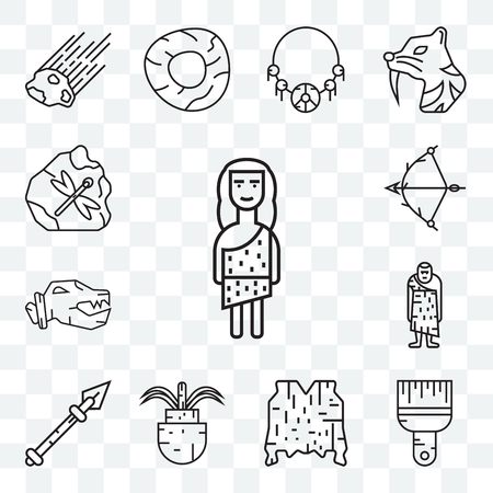 Set Of 13 transparent editable icons such as Troglodyte, Brush, Skin, Plant, Spear, Bow, web ui icon pack Illustration