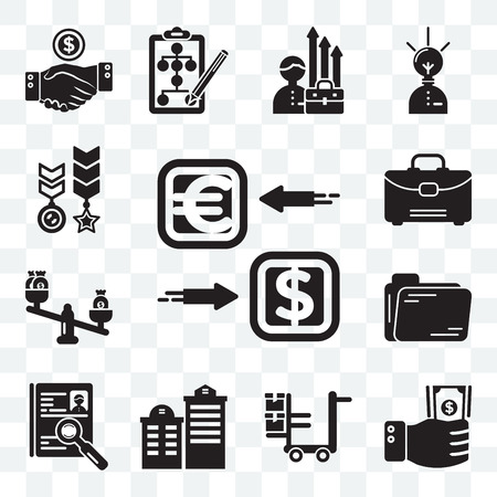Set Of 13 transparent editable icons such as Exchange, Investment, Logistics, Building, Human resources, Folder, Balance, Suitcase, Medal, web ui icon pack Illustration