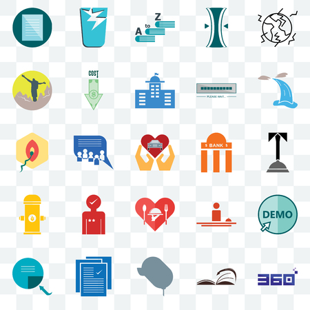 Set Of 25 transparent icons such as 360 degree, concierge, waterfall, broken glass, page turn, cost uction, hospitality, penetration, web UI transparency icon pack, pixel perfect