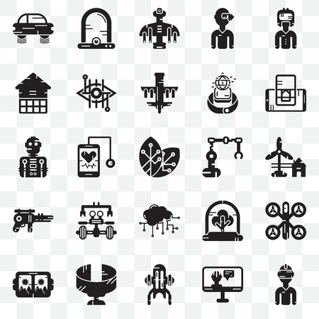 Set Of 25 transparent icons such as Vr glasses, Eolic energy, Smartphone, Egg incubator, Bionic contact lens, Tree, Robot, web UI transparency icon pack, pixel perfect Illustration