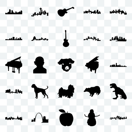 Set Of 25 transparent icons such as kansas city, snowman, apple, missouri, st paul, florida, grand piano, shih tzu, fort worth, south carolina, image les seattle, web UI transparency icon pack Illustration