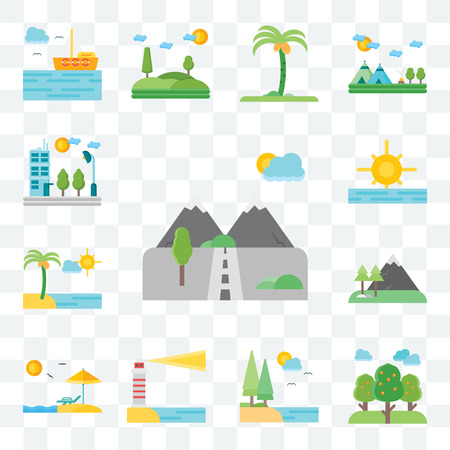 Set Of 13 transparent editable icons such as Mountains, Trees, Lake, Lighthouse, Beach, Sunrise, Flat, web ui icon pack