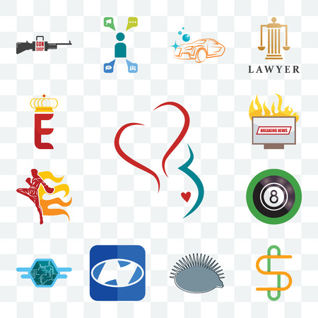 Set Of 13 transparent editable icons such as gynecology, double s, hedgehog, h, semi truck, 8 ball pool, muay thai, breaking news, e crown, web ui icon pack