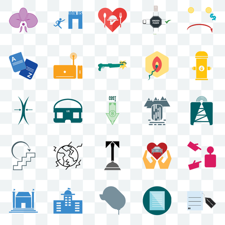 Set Of 25 transparent icons such as request a quote, cell tower, fire hydrant, join us, municipal, set top box, car dealer, elastic, web UI transparency icon pack, pixel perfect Ilustração