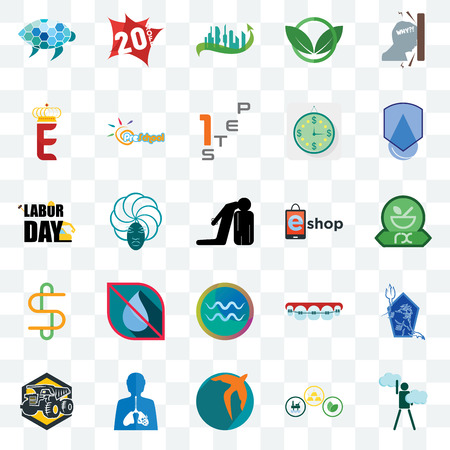 Set Of 25 transparent icons such as ambition, commodities, swift, inflammation, dump truck, waterproof, eshop, aquarius, double s, e crown, future city, 20% off, web UI transparency icon pack Stock Illustratie