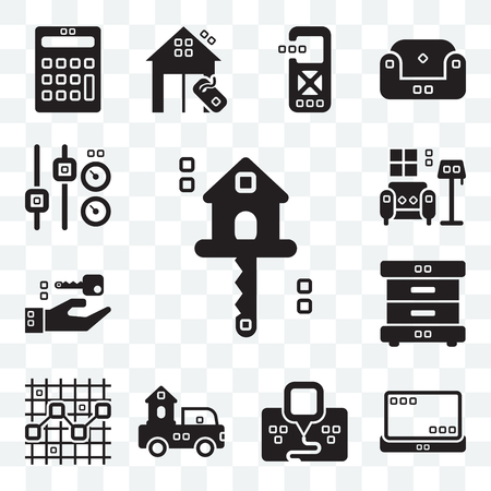 Set Of 13 transparent editable icons such as Real estate, Tools and utensils, Maps Flags, Trucks, Line chart, Bed side, Closing, Indoor, Fader, web ui icon pack