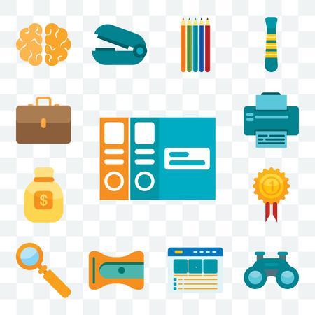 Set Of 13 transparent editable icons such as Folders, Binoculars, Website, Sharpener, Magnifying glass, Medal, Money bag, Printer, Suitcase, web ui icon pack