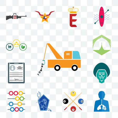 Set Of 13 transparent editable icons such as tow truck, inflammation, snooker, neptune, abacus, baboon, personal details, marquee, commodities, web ui icon pack Vettoriali