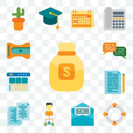 Set Of 13 transparent editable icons such as Money bag, Lifebuoy, Letter, Organization, Copy, Documentation, Website, Chat, Sharpener, web ui icon pack
