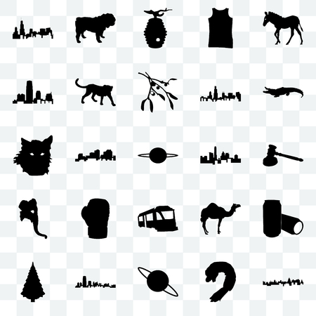 Set Of 25 transparent icons such as cuba, shrimp, saturn, new jersey, christmas tree, alligator, state of texas, train, elephant head, beehive, bulldog, web UI transparency icon pack Illustration