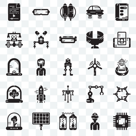 Set Of 25 transparent icons such as Chip, Vr glasses, Teleportation, Solar panel, Tree, Smartphone, Windmill, Robot, Jetpack, web UI transparency icon pack