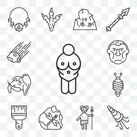 Set Of 13 transparent editable icons such as Venus of willendorf, Shellfish, Troglodyte,  Brush, Arthropod, Mammoth, Meteor, web ui icon pack