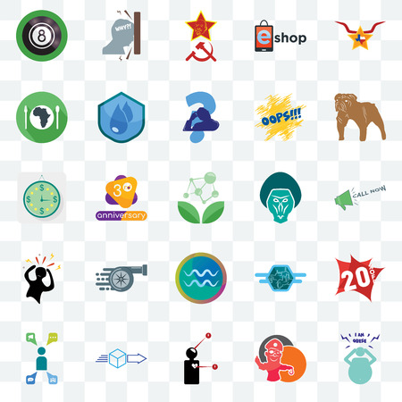 Set Of 25 transparent icons such as obesity, pirate mascot, symptoms, dispatch, campaign management, bulldog, baboon, aquarius, panic, hunger, communism, frustration, web UI transparency icon pack Vector Illustration