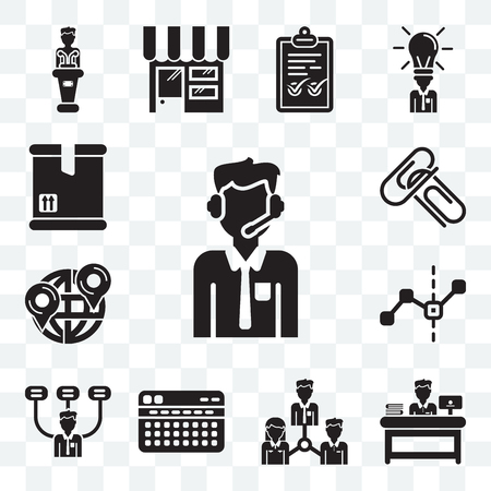Set Of 13 transparent editable icons such as Customer service, Administrator, Collaboration, Stats, Boss, Line graphic, Maps and Flags, Attachments, Packing, web ui icon pack