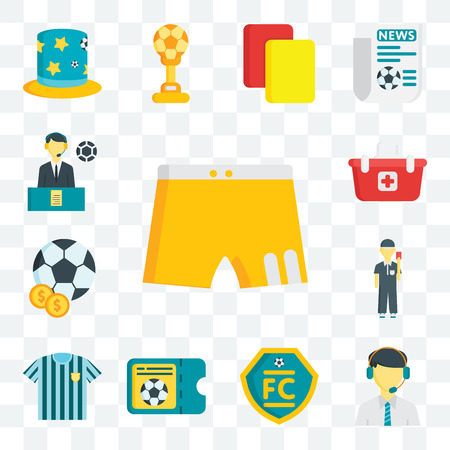 Set Of 13 transparent editable icons such as Shorts, Commentator, Football club, Ticket, Referee jersey, Referee, Soccer ball, Shopping basket, web ui icon pack
