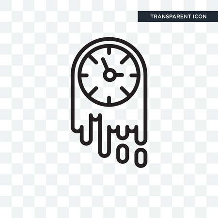Wall clock vector icon isolated on transparent background