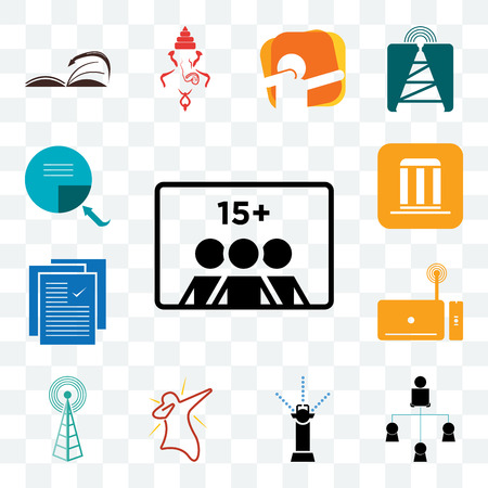 Set Of 13 transparent editable icons such as number of players, distributor, sprinkler, dab, cell tower, set top box, specification, municipality, page turn, web ui icon pack