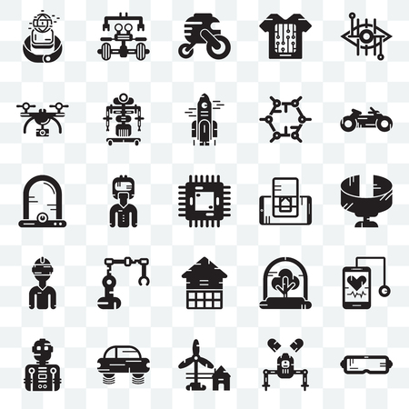 Set Of 25 transparent icons such as Oculus rift, Robot, Eolic energy, Flying car, Motorbike, Smartphone, Eco house, Vr glasses, Drone, Vehicle, web UI transparency icon pack Stock Vector - 107842804