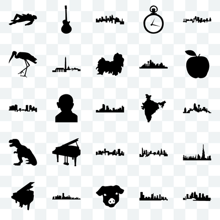 Set Of 25 transparent icons such as florida, austin, pig face, grand piano, apple, india map, denver, t rex, stork, minnesota, image les paul, web UI transparency icon pack