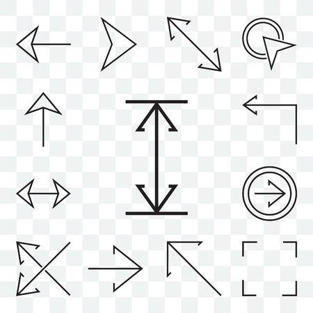 Ensemble de 13 icônes modifiables transparentes telles que Redimensionner, Développer, Flèche diagonale, Flèches croisées à droite, Double tourner à gauche, Up web ui icon pack Vecteurs