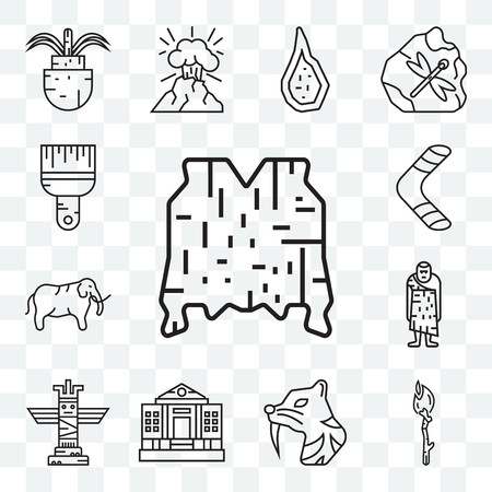 Set Of 13 transparent editable icons such as Skin, Torch, Saber toothed tiger, Totem, Troglodyte, Mammoth, Boomerang, Brush, web ui icon pack Illustration