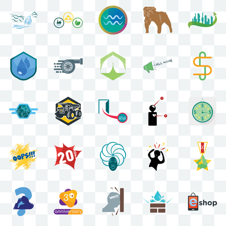 Set Of 25 transparent icons such as eshop, estimate, double s, commodities, scratching head, turbo, panic, semi truck, web UI transparency icon pack, pixel perfect