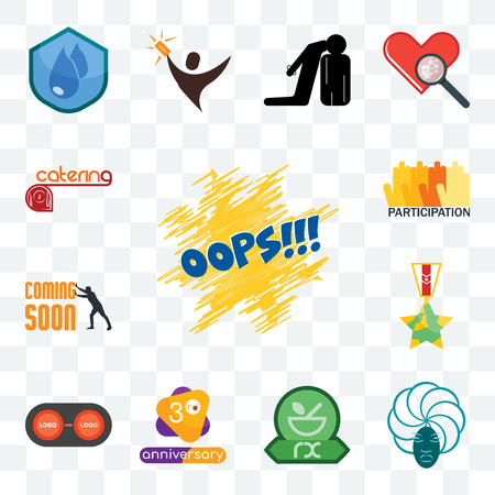 Set Of 13 transparent editable icons such as oops, goddess, pharmacy, 3rd anniversary, convert, veteran, soon, participation, catering, web ui icon pack Çizim