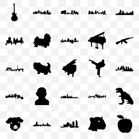 Set Of 25 transparent icons such as apple, jaguar face, long island, wisconsin, pig ak47, karate kick, florida, minnesota, minneapolis, fort worth, denver, web UI transparency icon pack