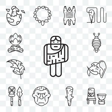 Set Of 13 transparent editable icons such as Troglodyte, Mortar, Club, Weapon, Mammoth, Leaf, Arthropod, Bonfire, web ui icon pack Illustration