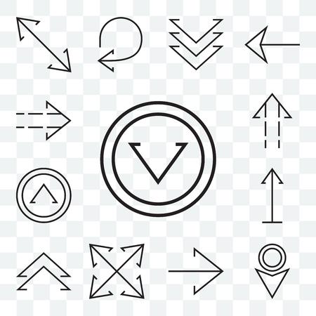 Conjunto de 13 iconos editables transparentes como flecha hacia abajo, expansión derecha, chevron arriba, paquete de iconos de interfaz de usuario web