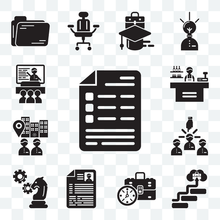 Set Of 13 transparent editable icons such as List, Career, Briefcase, Resume, Strategy, Leader, Visitor, Store, Presentation, web ui icon pack