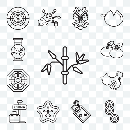 Set Of 13 transparent editable icons such as Bamboo, Yuan, Money, Sakura, China, Pa kua mirror, Tangerine, Vase, web ui icon pack