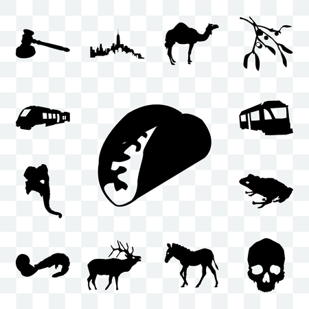 Set Of 13 transparent icons such as taco outline on white background, simple skull zebra web ui editable icon pack, transparency set