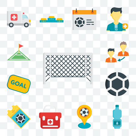 Set Of 13 transparent editable icons such as Soccer goal, Tumbler, Pin, First aid kit, Ticket, Ball, Goal, Player substitution, Corner, web ui icon pack Иллюстрация