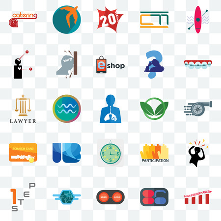 Set Of 25 transparent icons such as high performance, 86, convert, semi truck, step 1, orthodontist, eco club, estimate, scratch card, symptoms, 20% off, swift, web UI transparency icon pack Ilustração