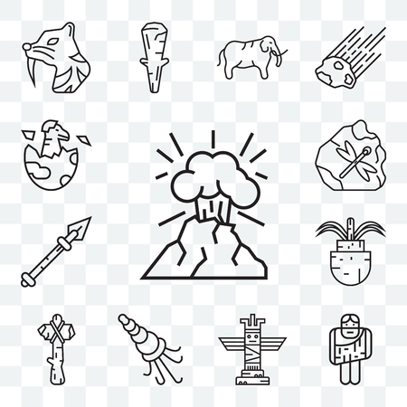 Set Of 13 transparent editable icons such as Volcano, Troglodyte, Totem, Shellfish, Axe, Plant, Spear, Dinosaur, web ui icon pack