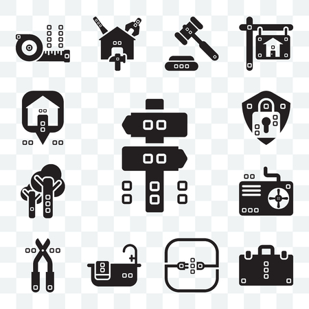 Set Of 13 transparent editable icons such as Panel, Book bag, Electric, Relax, Pruners, Cooling, Trees, Security system, Maps and Flags, web ui icon pack
