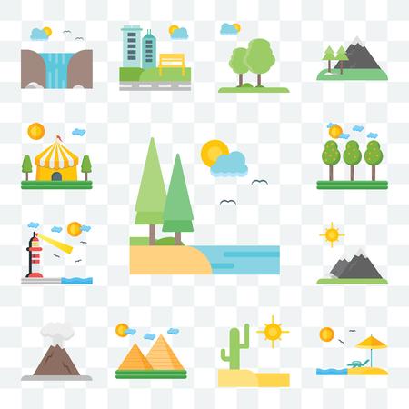Conjunto de 13 iconos editables transparentes como lago, playa, desierto, pirámides, volcán, montañas, faro, campo, circo, paquete de iconos de interfaz de usuario web