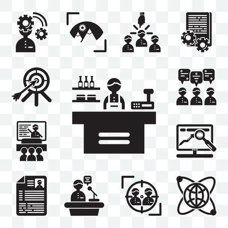 Set Of 13 transparent editable icons such as Store, Globe, Target, Speech, Resume, Website, Presentation, Teamwork, Dart, web ui icon pack 일러스트