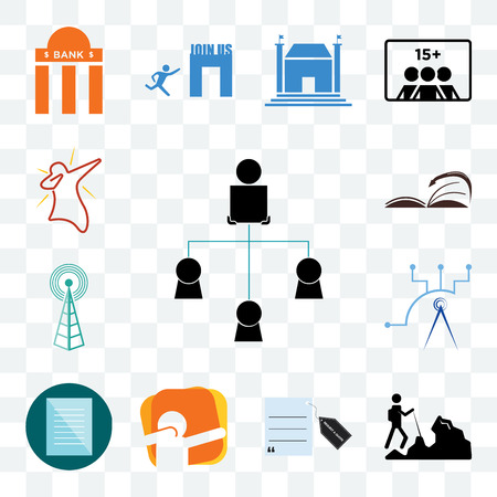 Set Of 13 transparent editable icons such as distributor, hiker, request a quote, dab, specification, telecom, cell tower, page turn, web ui icon pack