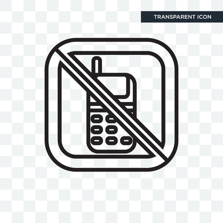 No phone vector icon isolated on transparent background Illustration