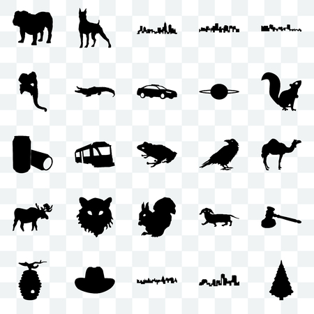 Set Of 25 transparent icons such as christmas tree, louisiana, cuba, cowboy hat, beehive, , raven, moose, elephant head, north carolina state, boxer, web UI transparency icon pack